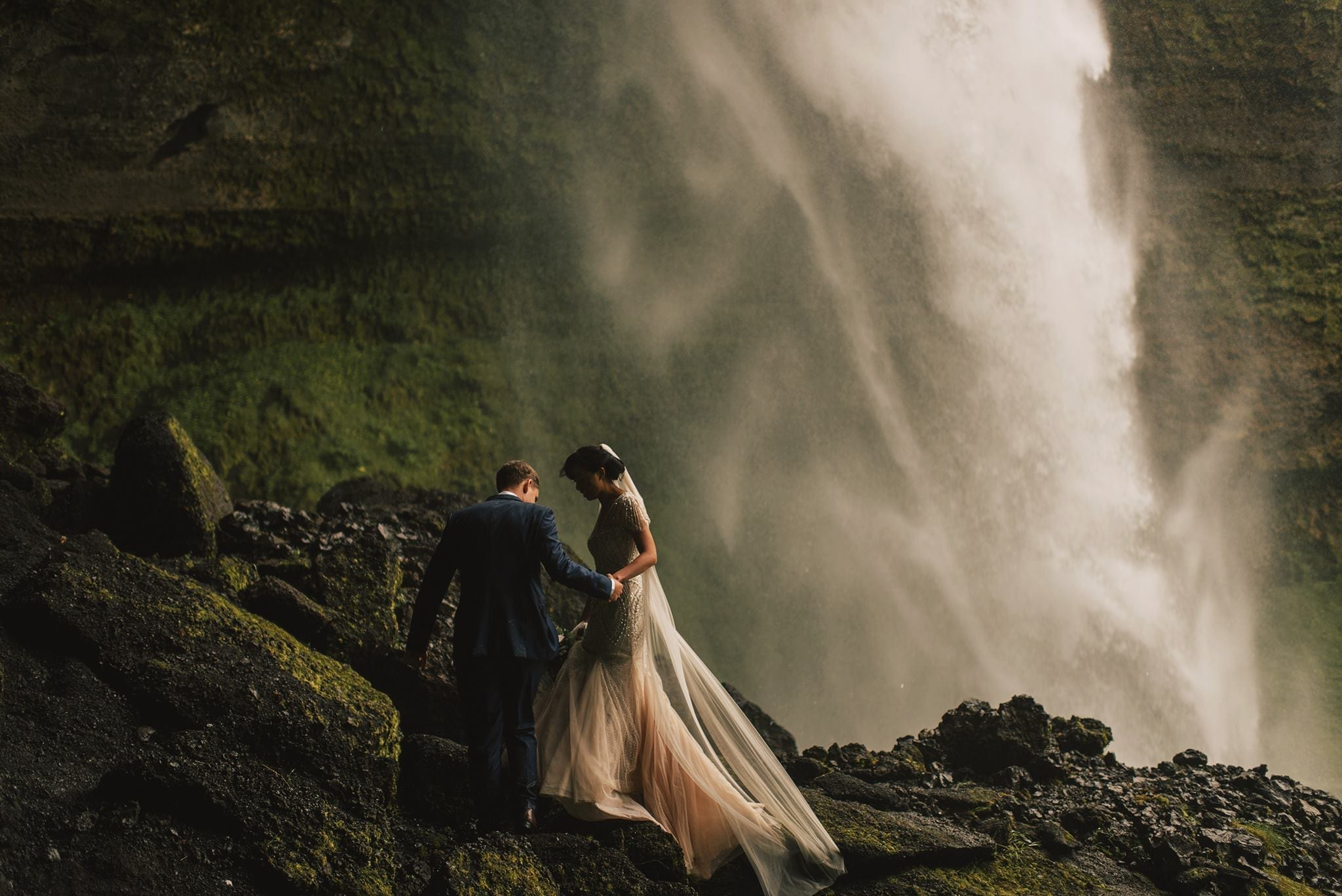 New Zealand destination waterfall wedding