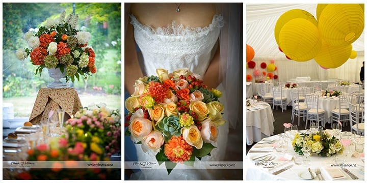 kim chan events | styled marquee with coral and peach flowers, table centrepieces and lanterns