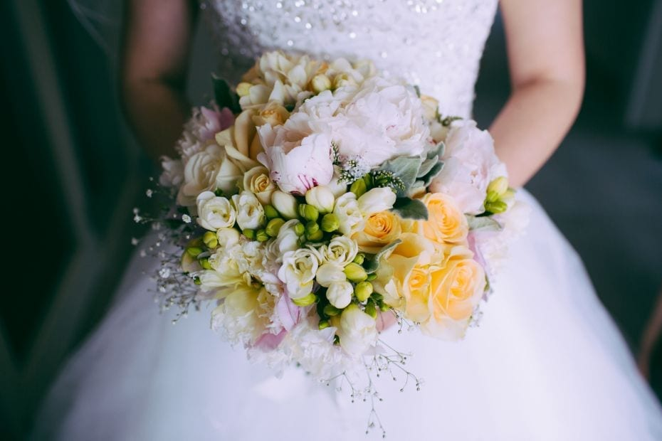 Pastel wedding bouquet by Kim Chan Events