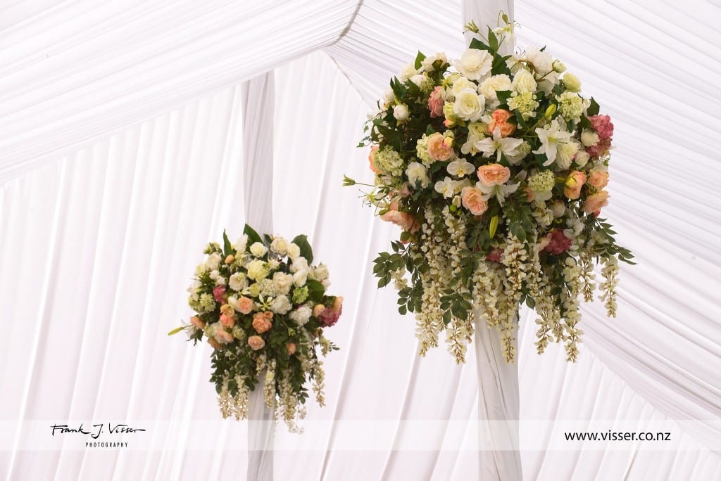 Hanging floral arrangements by Kim Chan Events