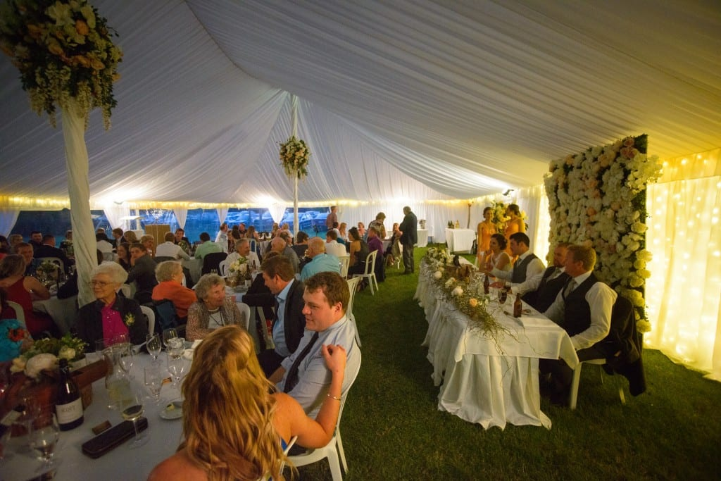 Wedding reception in marquee for Sarah and Sam