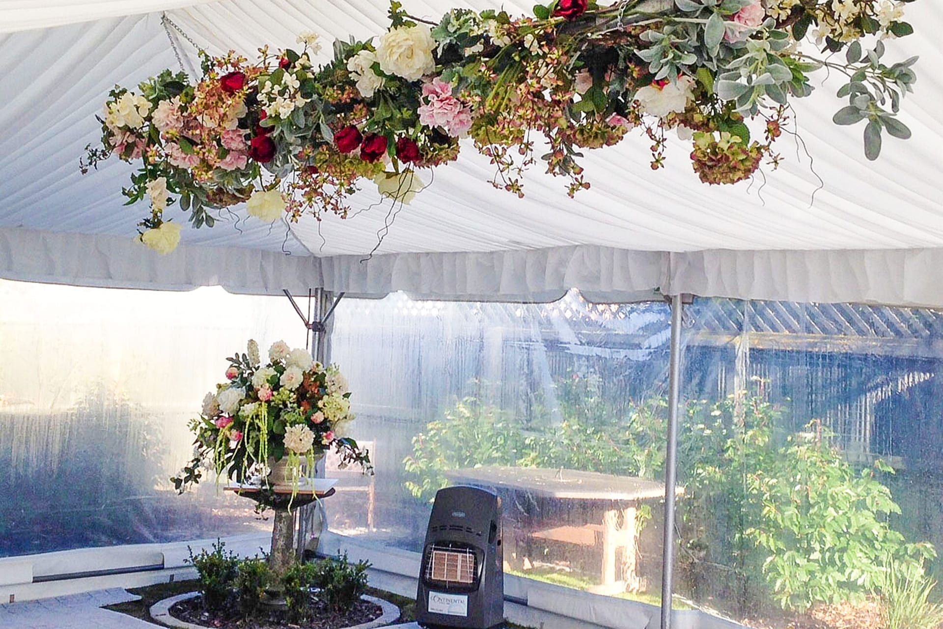 Kim Chan Events | hanging arbour of flowers in marquee