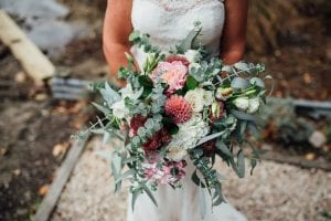 Garden style wedding bouquet of salmon tones - designed by Kim Chan Events