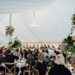 kim chan events | marquee wedding with beautiful chandeliers and flowers