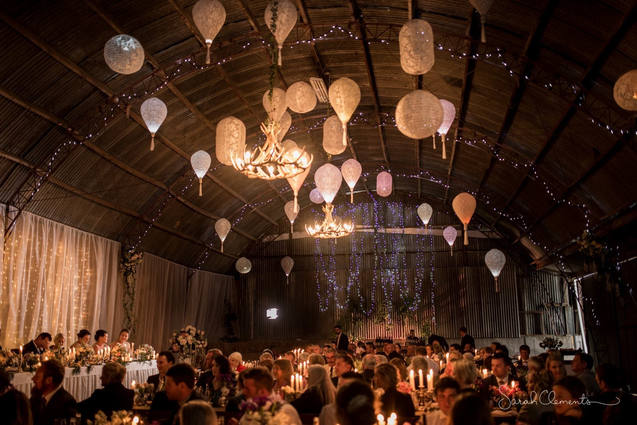 kim chan events | lace lanterns and fairy lights at bar wedding