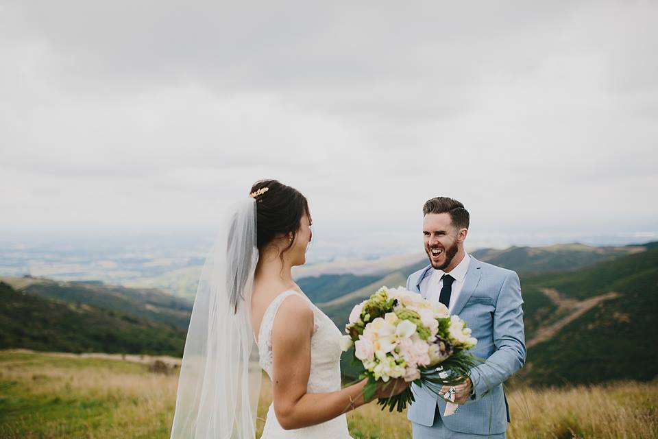 Bride and groom on their New Zealand destination wedding