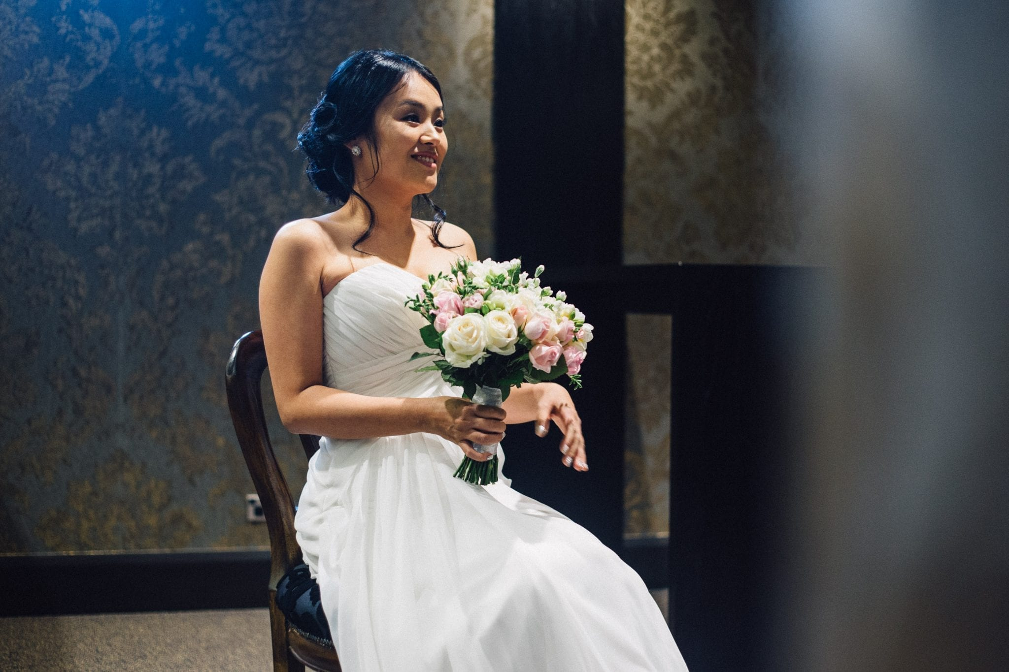 Kim Chan Events|Posy bouquet of pinks creams and whites for asian bride in New Zealand