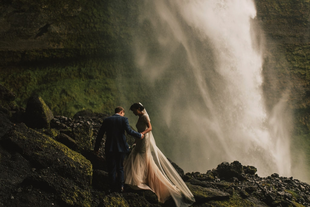 kimchanevents|bride in waterfall