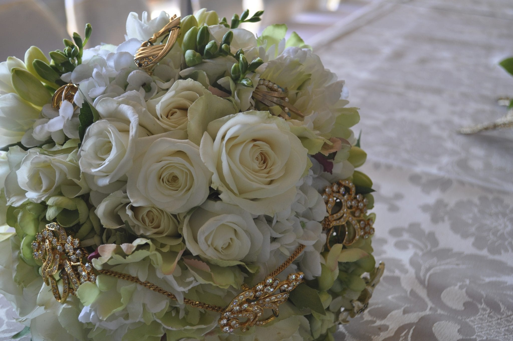 Kim Chan Events|custom designed posy bridal bouquet of roses and freesias with mums precious jewels