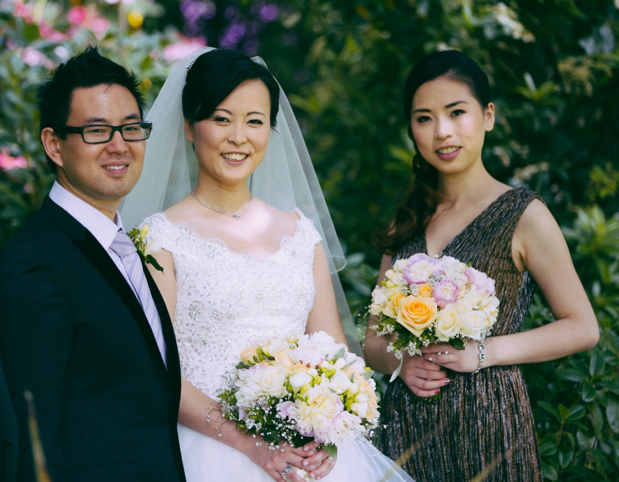 Kim Chan Events | Chinese Wedding -bouquets of peonies, roses, freesias and Gyp in pastel colours
