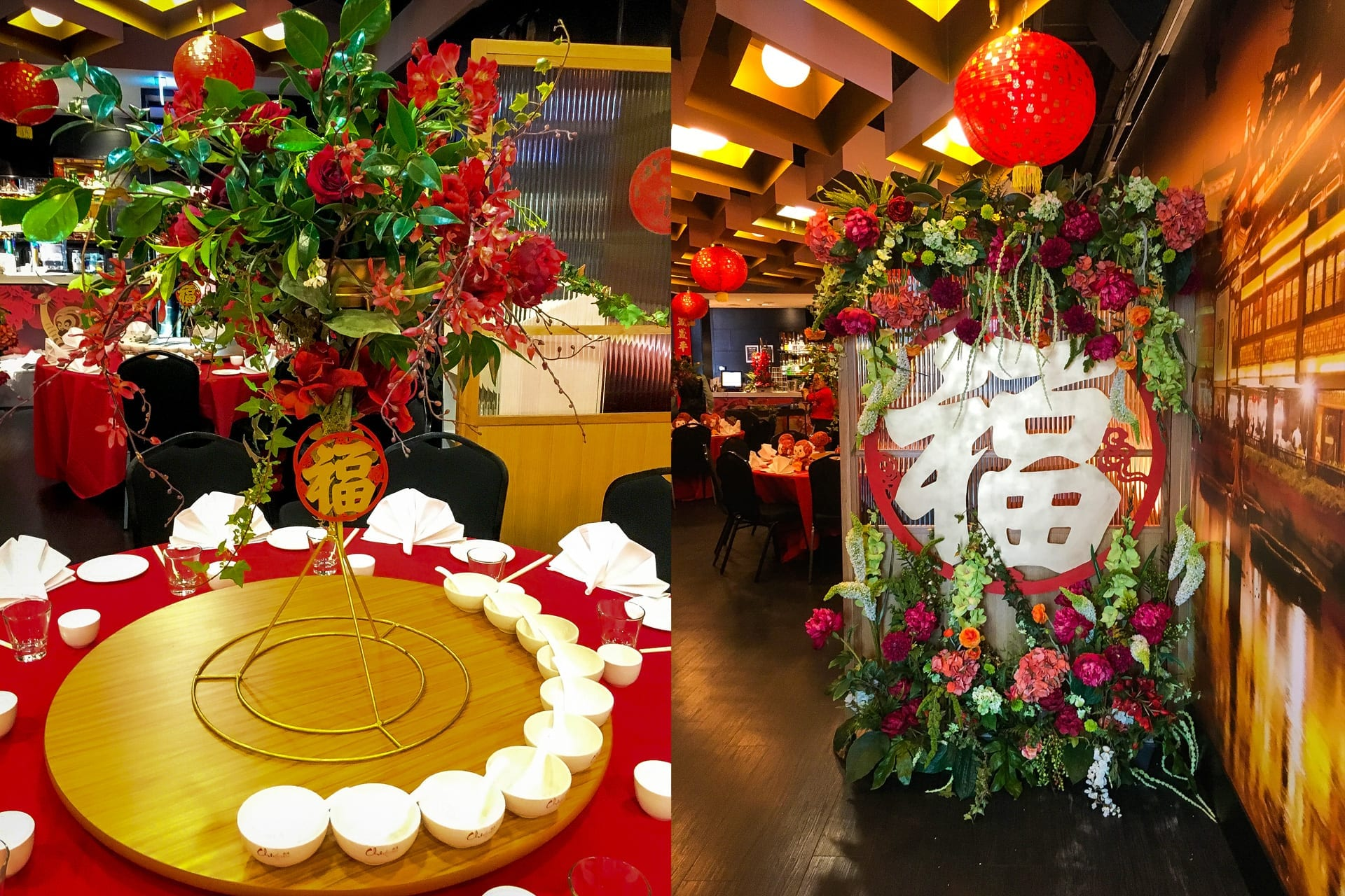 Kim Chan Events| Chinese New Year, wealth sign and flowers and candelabra centrepiece ready for chinese banquet