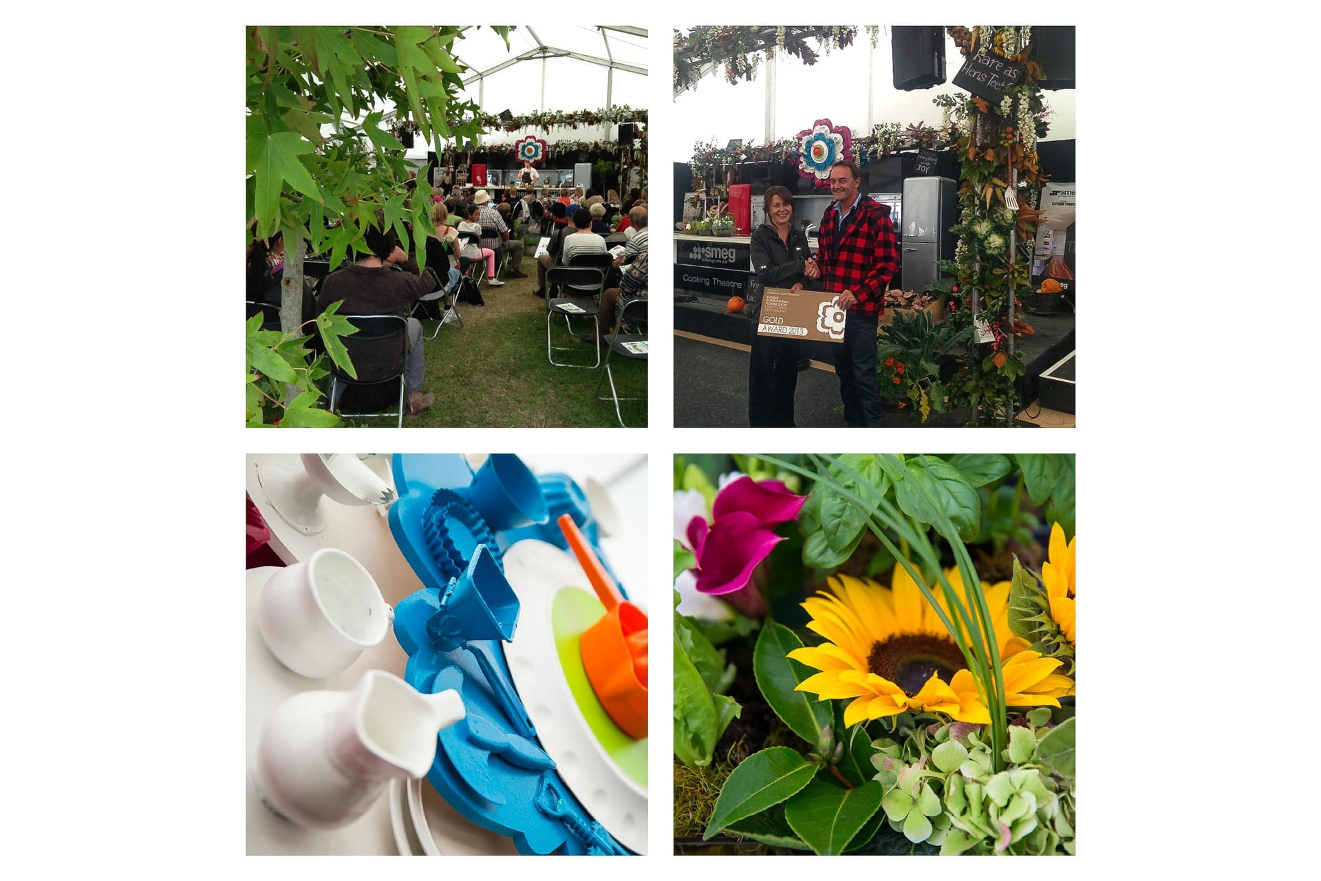 Kim Chan Events|Ellerslie Flower Show , Edible Ellerslie logo constructed of cutlery, and kitchen display, honorary Gold award presentation