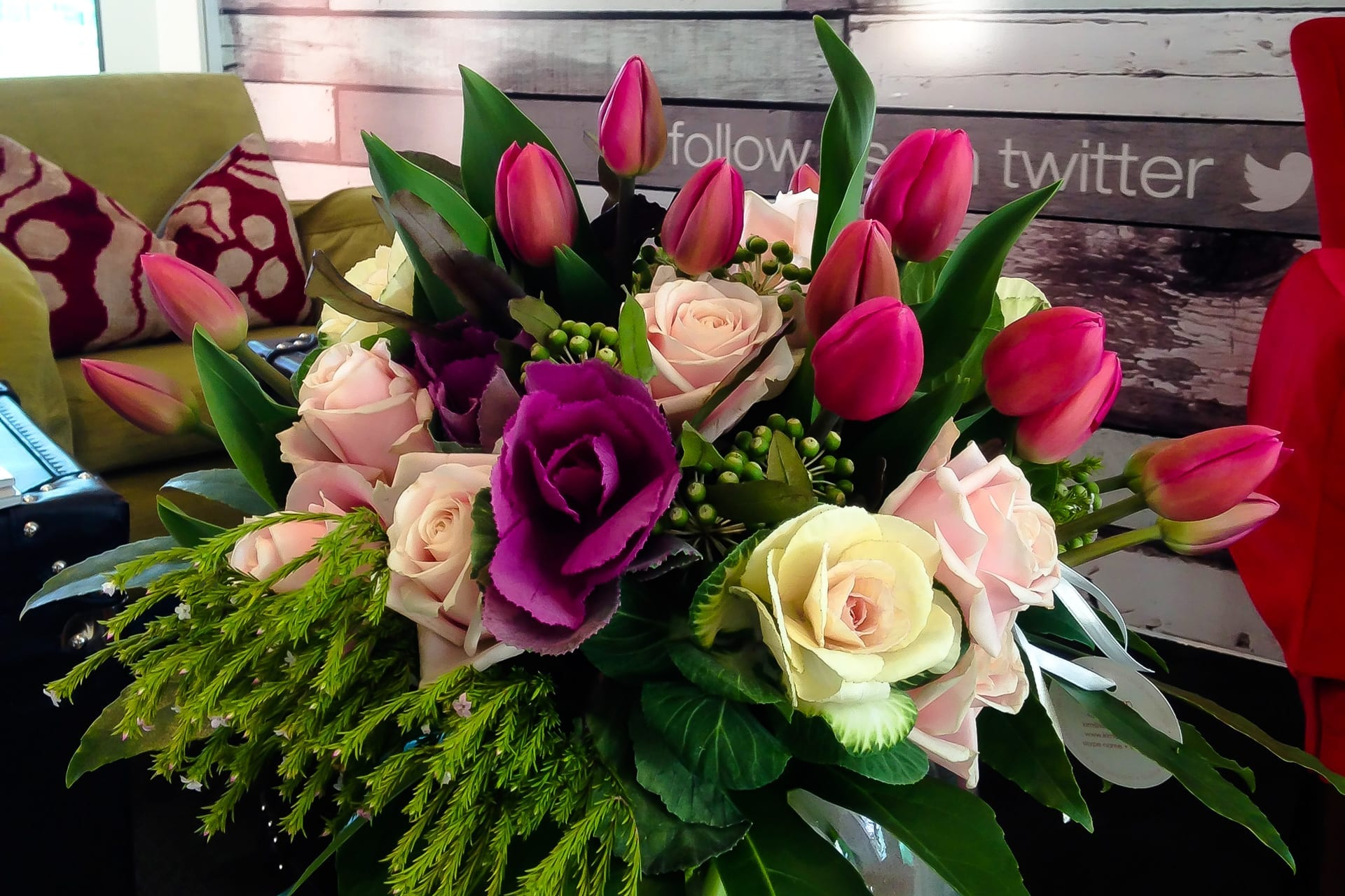 Kim Chan Events|bouquet of spring for office reception area