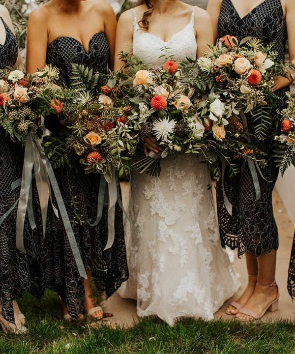 Bride, bridesmaids and bouquets