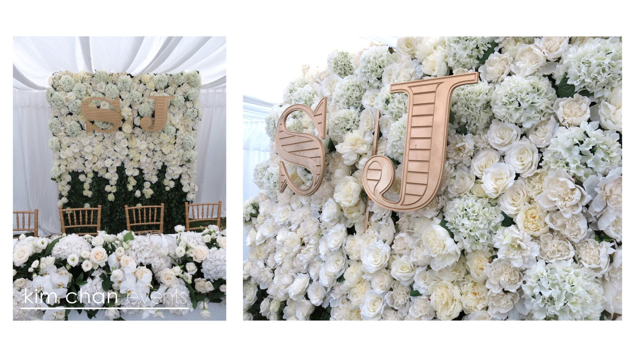 kimchanevents|flower wall in white and gold with bride and groom initials