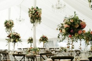 Wedding flower feature pieces by Kim Chan Events