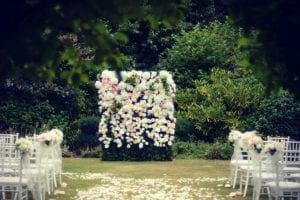 Wedding flower wall by Kim Chan Events
