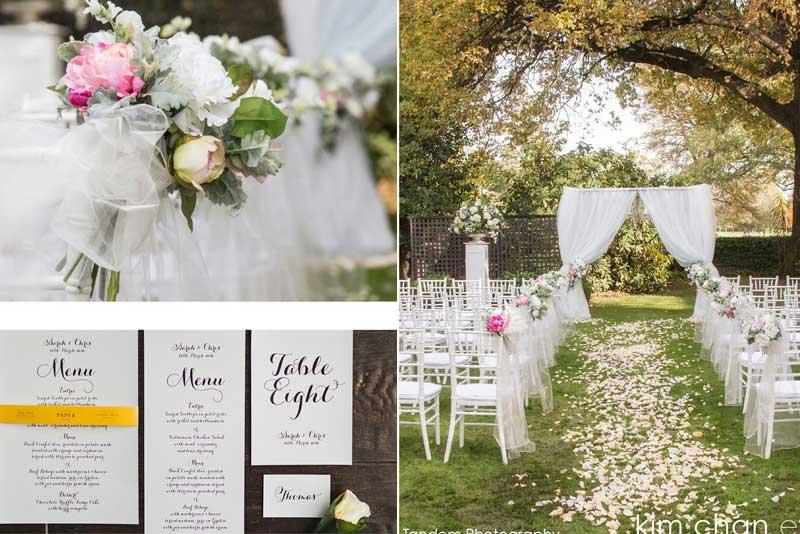 Wedding setup - venue, invites and wedding flowers