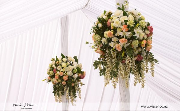 Beautiful wedding marquee flower feature pieces