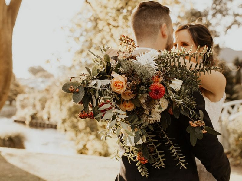 Beautiful autumn themed wedding bouquet.
