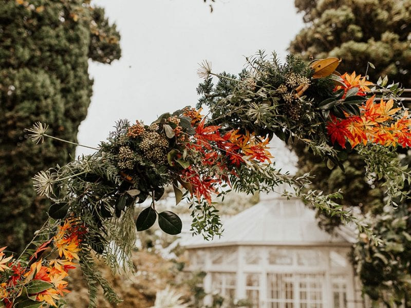 Autumn theme wedding arch