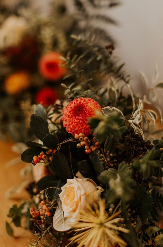 Beautiful autumn theme wedding flower arrangements for Claire's Wedding by Kim Chan Events