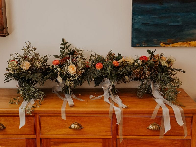 Stunning autumn themed bouquets by Kim Chan Events.