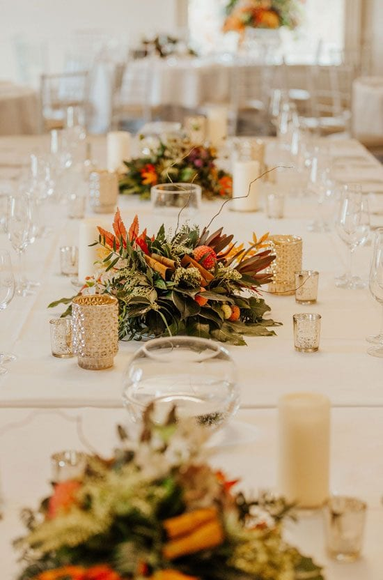 Autumn themed wedding table decorations by Kim Chan Events