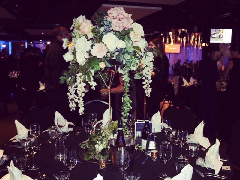 Table decorations supplied by Kim Chan Events