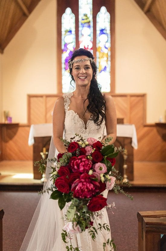 Beautiful Lee with her bridal bouquet by Kim Chan Events
