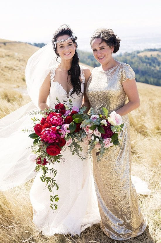 Bride Lee and her bridesmaid with their bouquets by Kim Chan Events