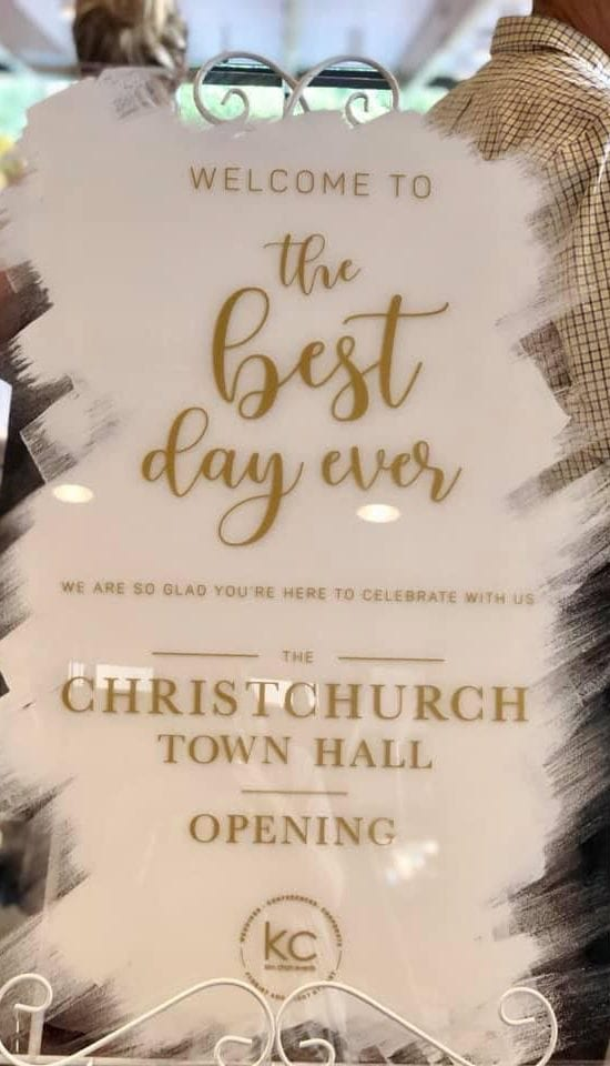 Sign welcoming guests to the Christchurch Town Halls reopening by Kim Chan Events