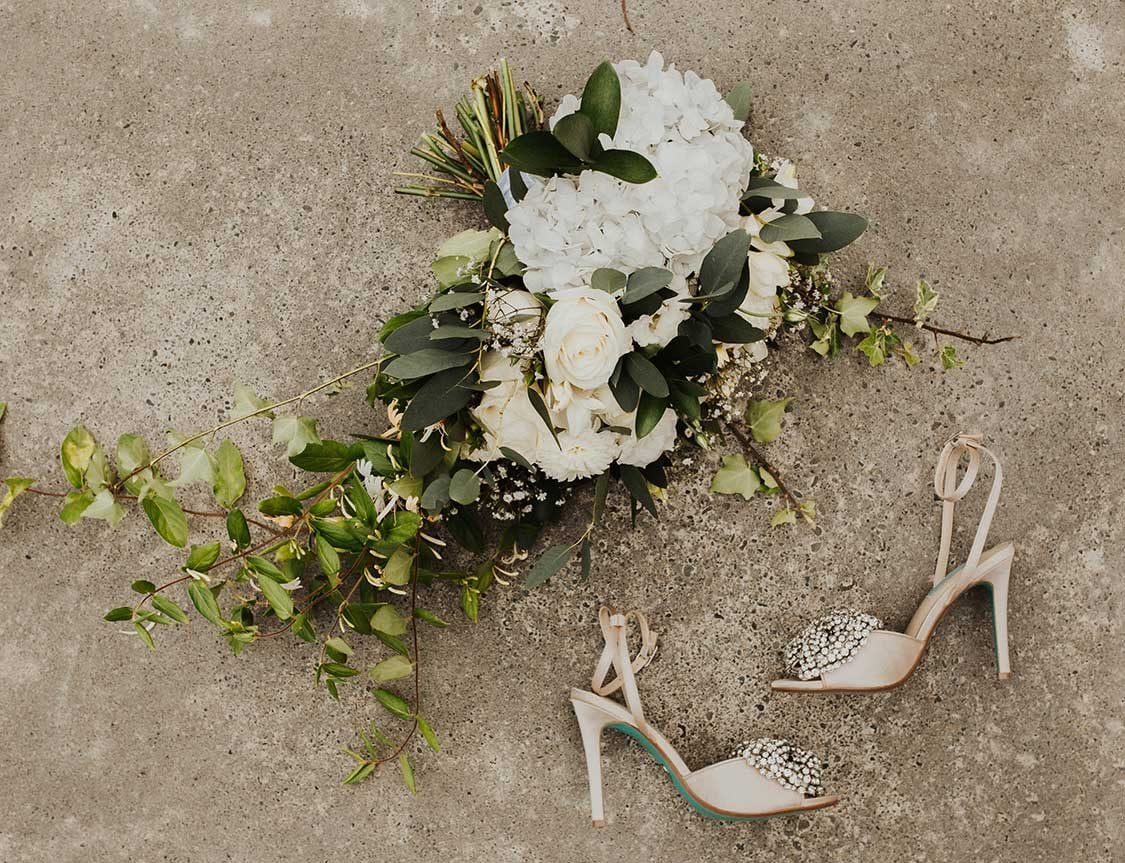 Bridal bouquet and bridal shoes