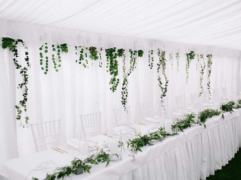Floral styling for Gabby's marquee wedding