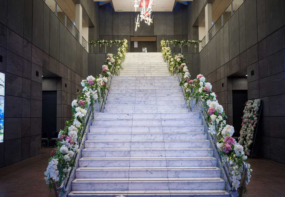 Staircase feature piece for wedding at the Christchurch Art Gallery
