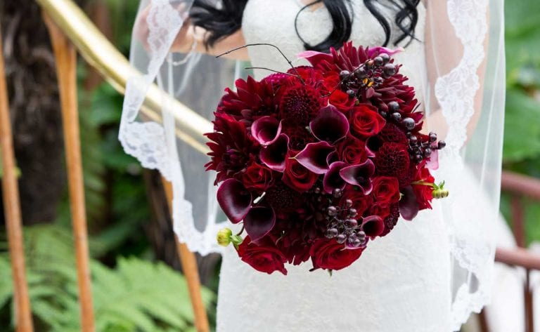 Beautiful crimson bouquet for Mira's wedding