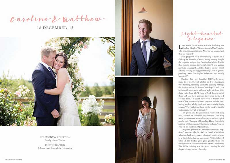 Caroline and Matthew as seen in Canterbury Bride magazine