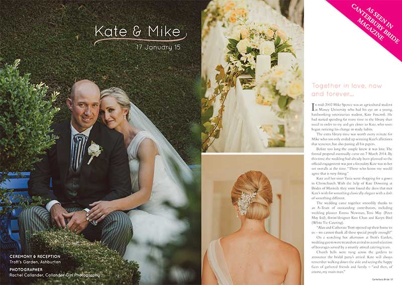 Kate and Mike as seen in Canterbury Bride magazine