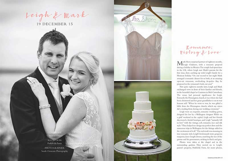 Leigh and Mark as seen in Canterbury Bride magazine