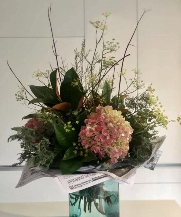 Sustainable flowers, vase of flowers, unwrapped, reducing packaging and caring for our environment