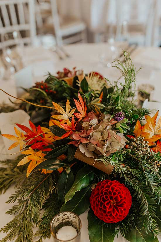Autumn themed wedding flowers