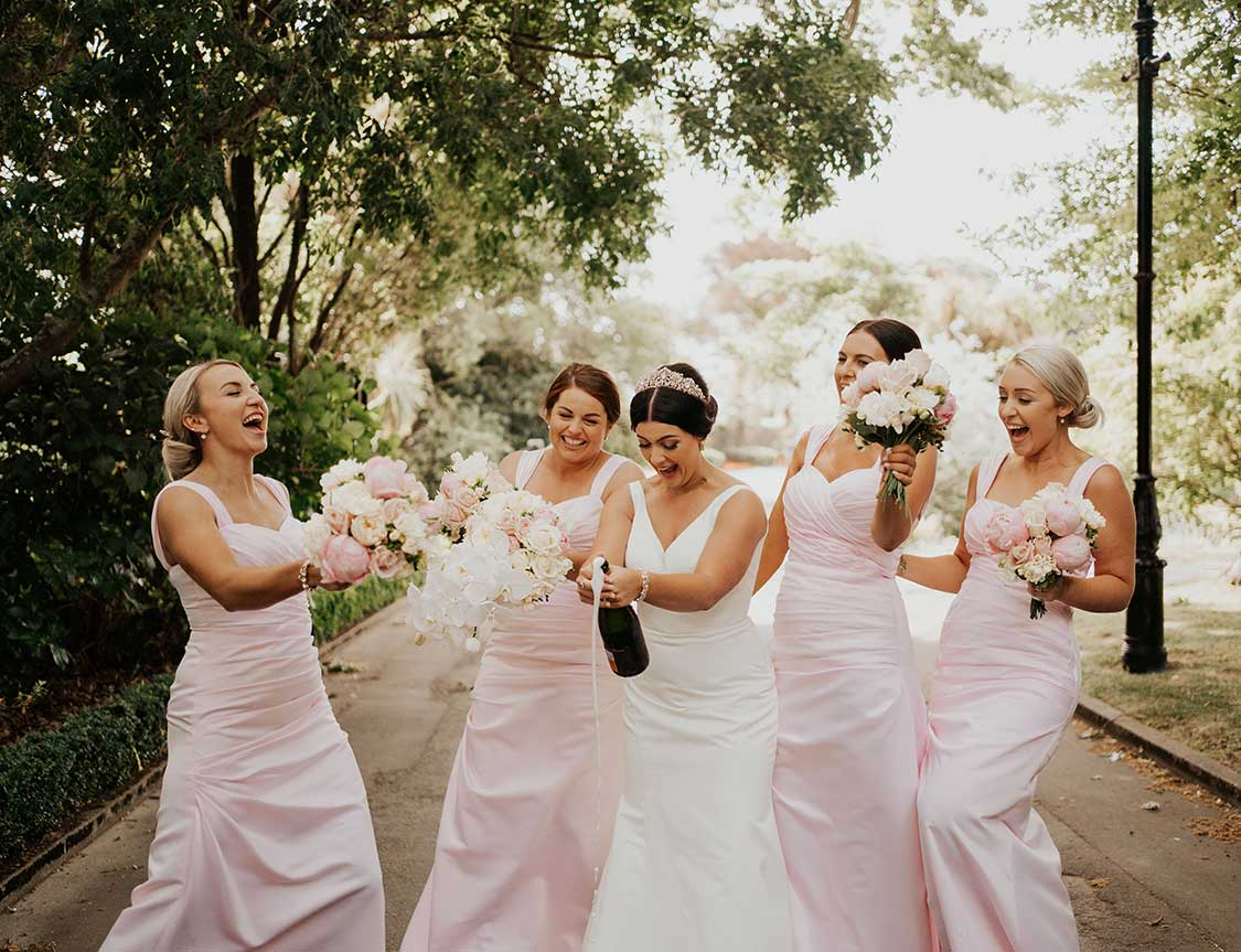 Bridal party with their bouquets