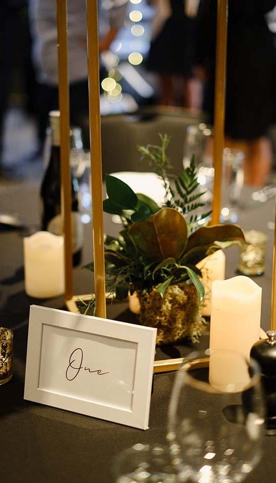 Candles and table decorations for Foodstuffs event