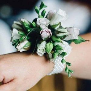 Wedding flower corsage on wrist