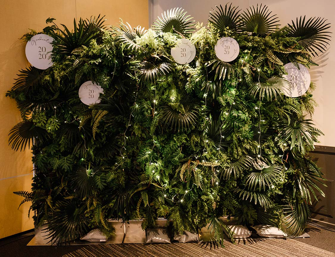 Beautiful green flower wall by Kim Chan Events
