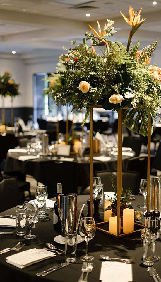 Table centre pieces by Kim Chan Events
