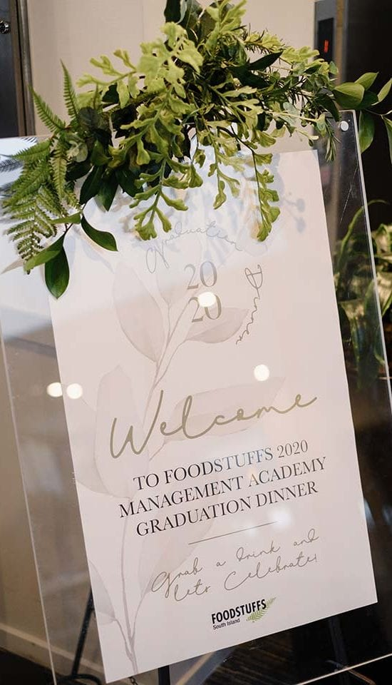Welcome sign styling for Foodstuffs event