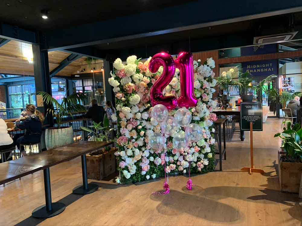 21st flower wall hire