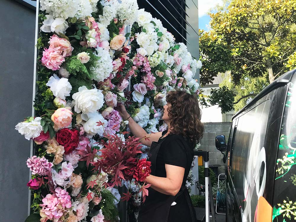Fiona creating flower wall