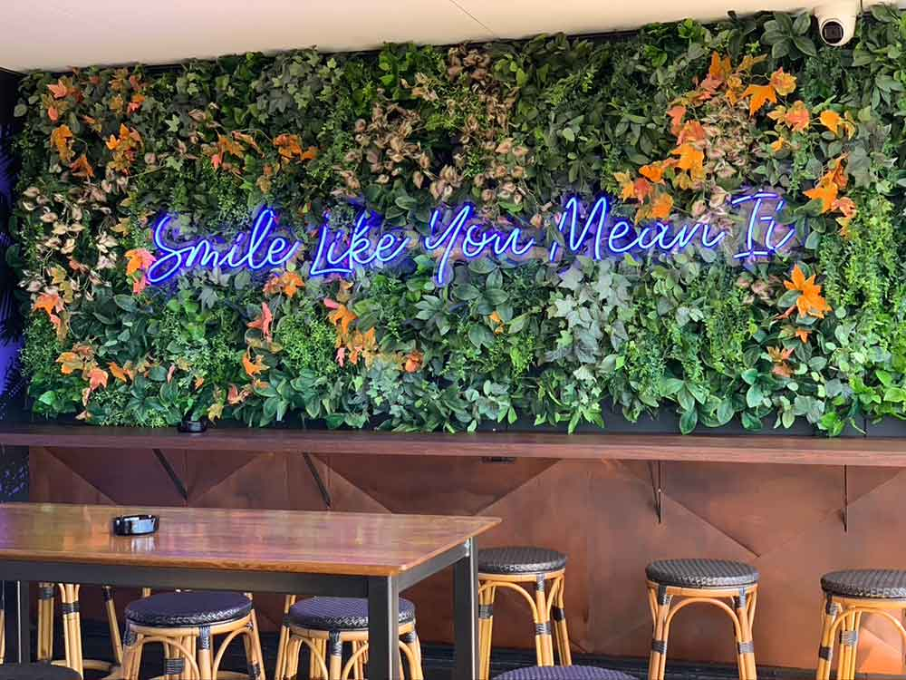 Flower wall for bar